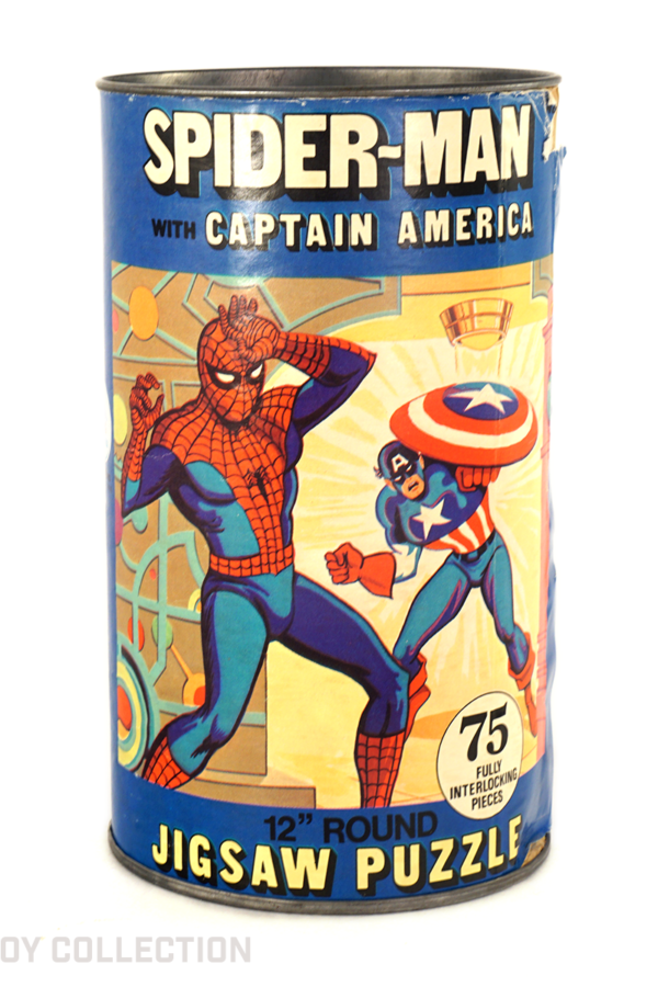 Spider-Man with Captain America Puzzle Can by HG Toys, 1974