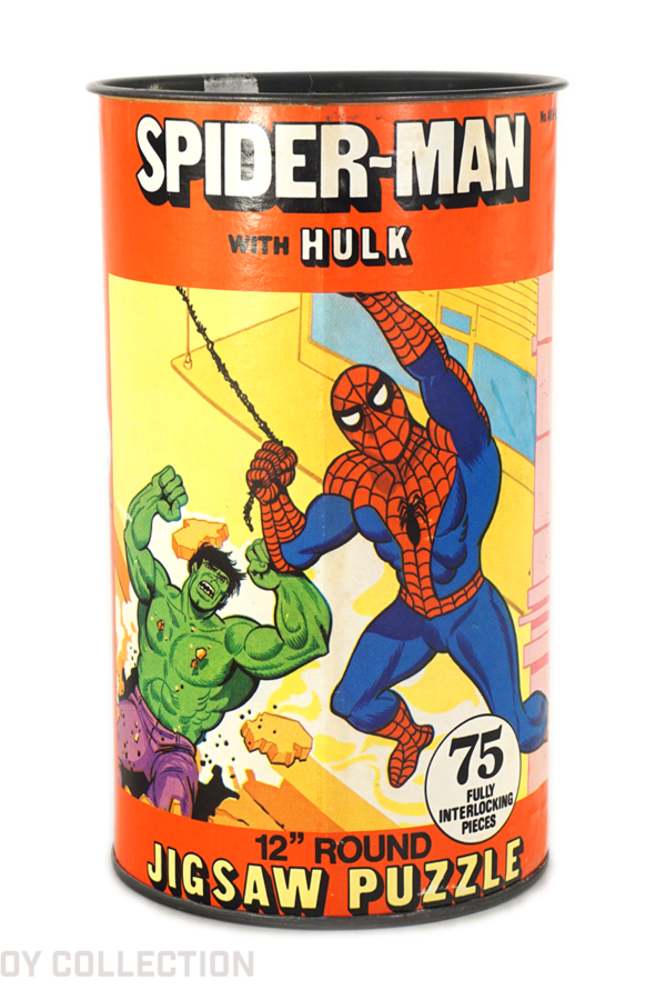 Spider-Man with Hulk Puzzle Can by HG Toys, 1974