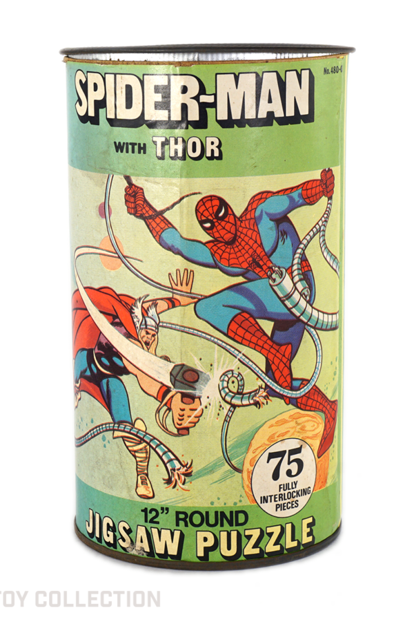 Spider-Man with Thor Puzzle Can by HG Toys, 1974
